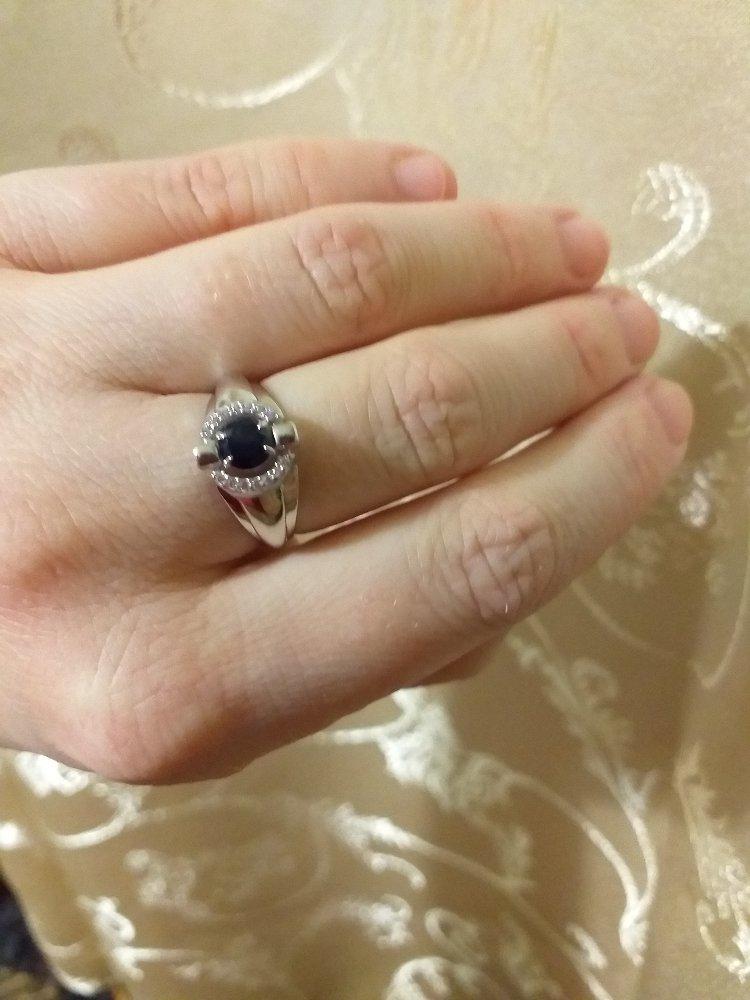 Серебрянное кольцо с сапфирами и фианитами
