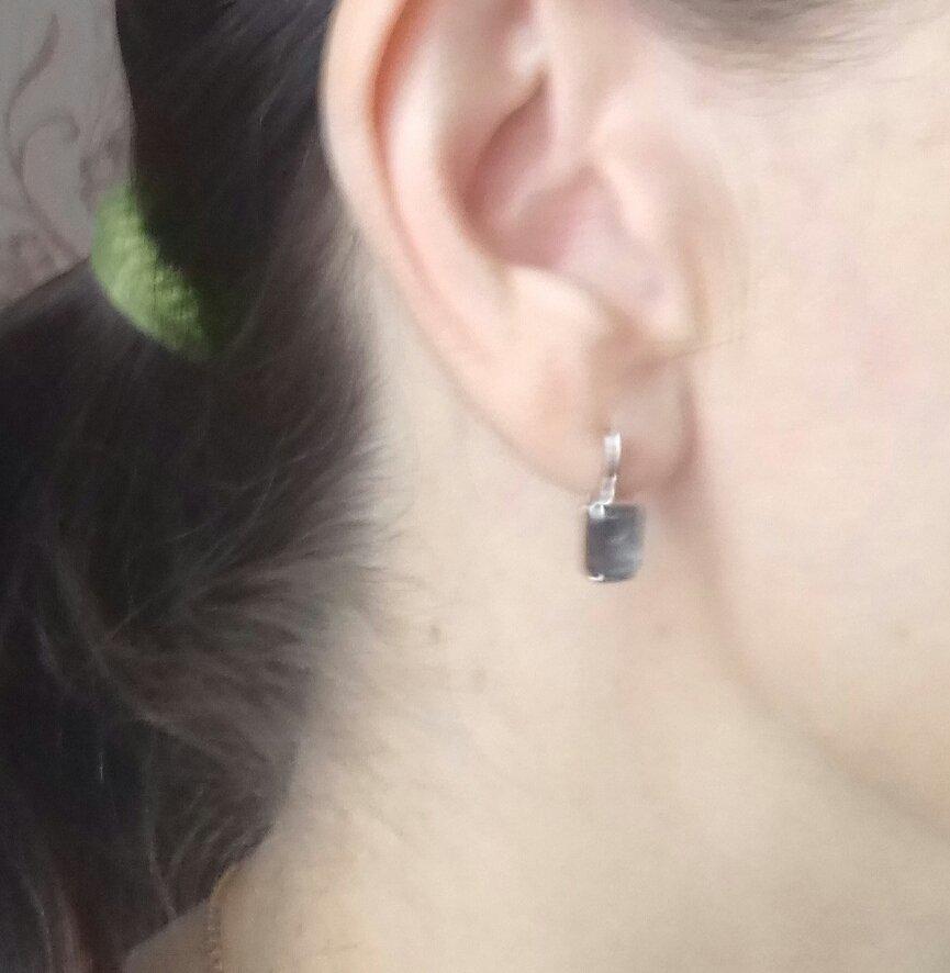 Серьги с кристаллом чёрного бриллианта