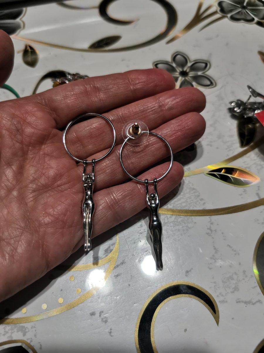 Серьги серебрянные гимнастка