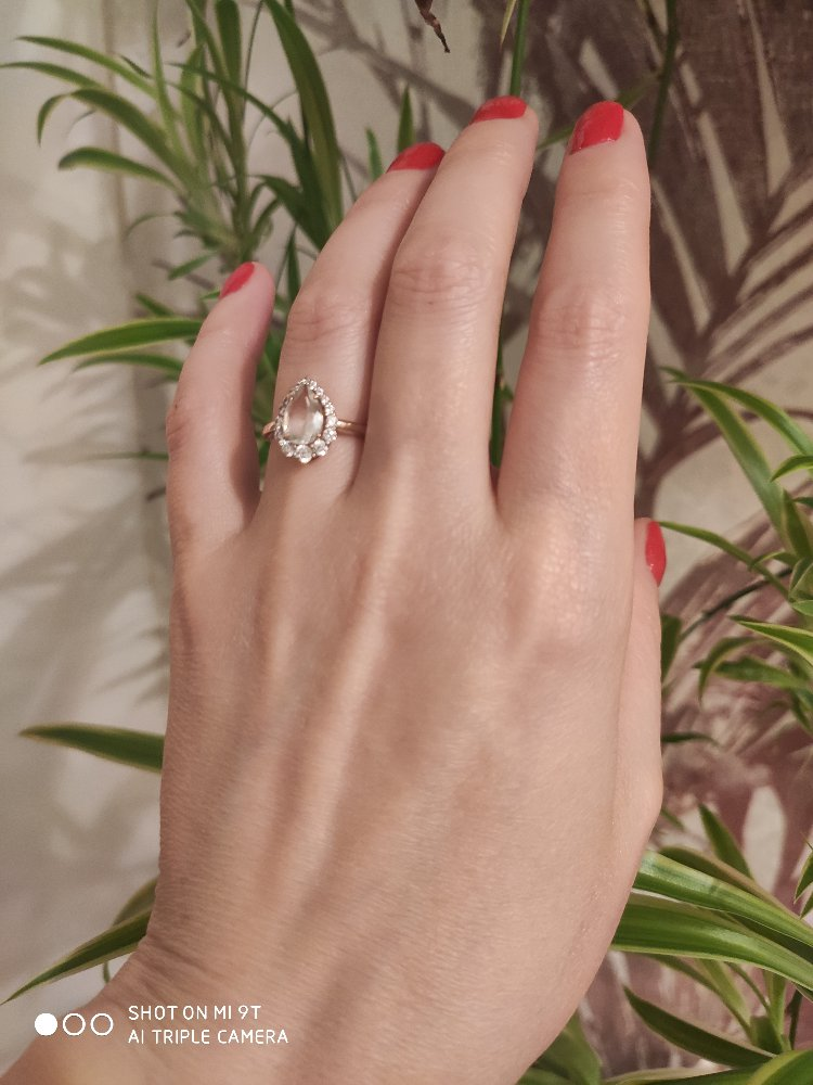 Симпатичное золотое кольцо с празиолитом.
