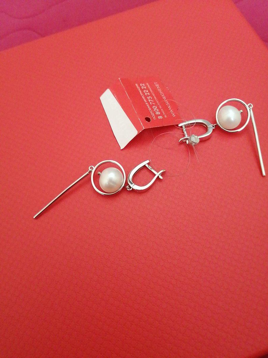 Серьги серебряные с жемчугом.
