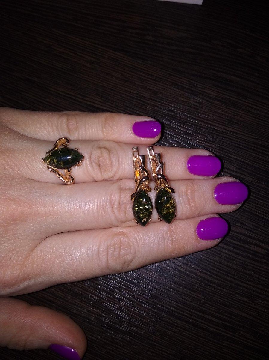 Серьги и кольцо с зелёным янтарём