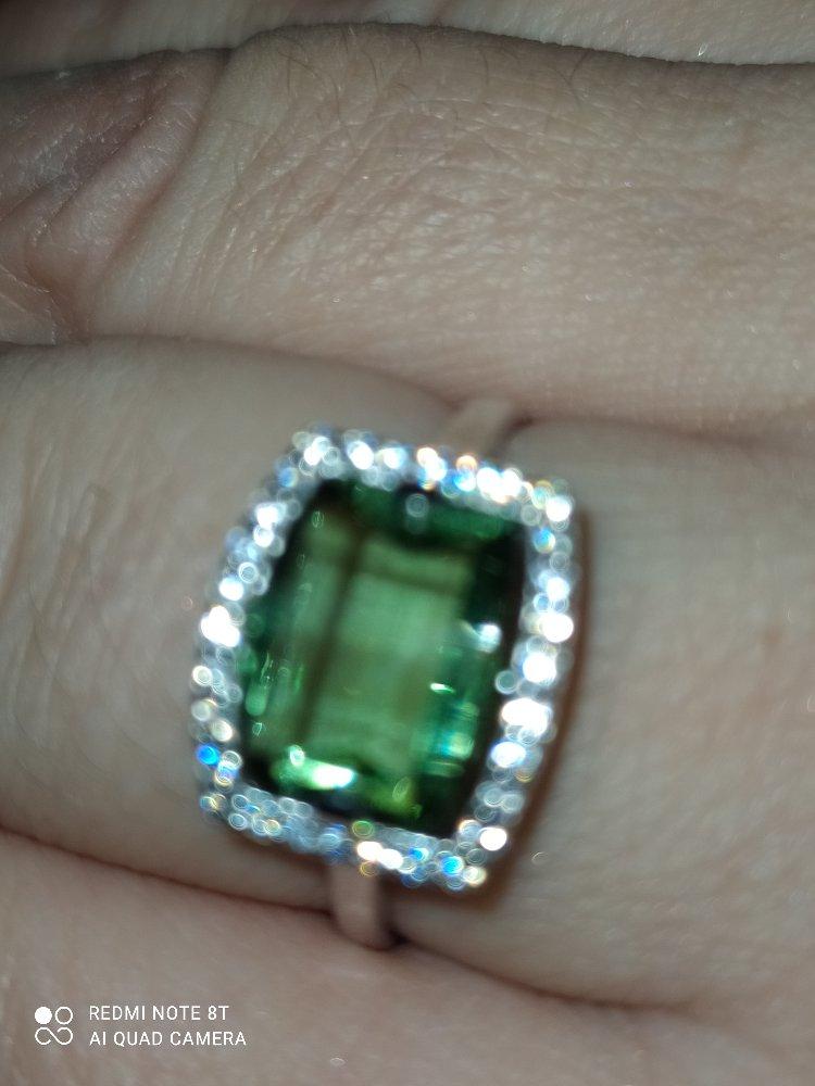 Серебряное кольцо с празиолитом.
