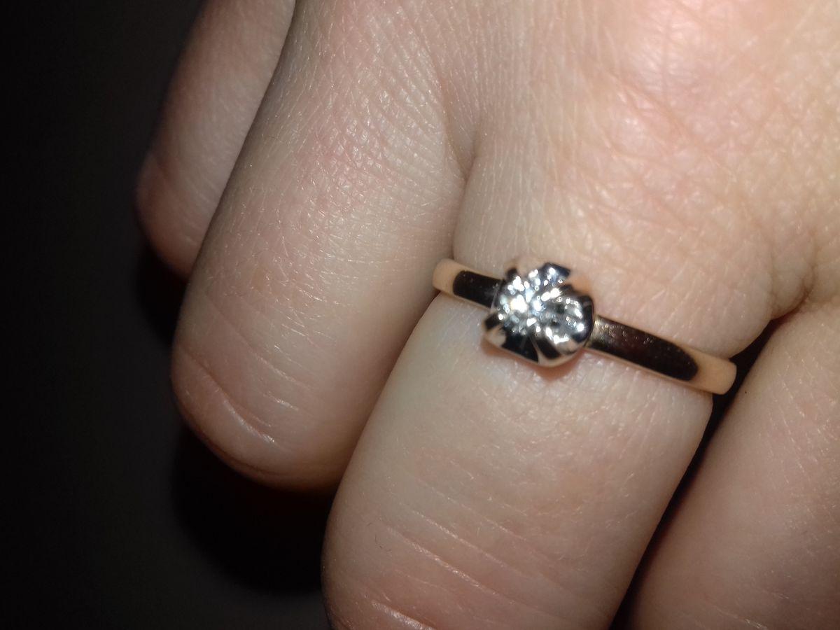 Кольцо,розовое золото,с бриллиантом.