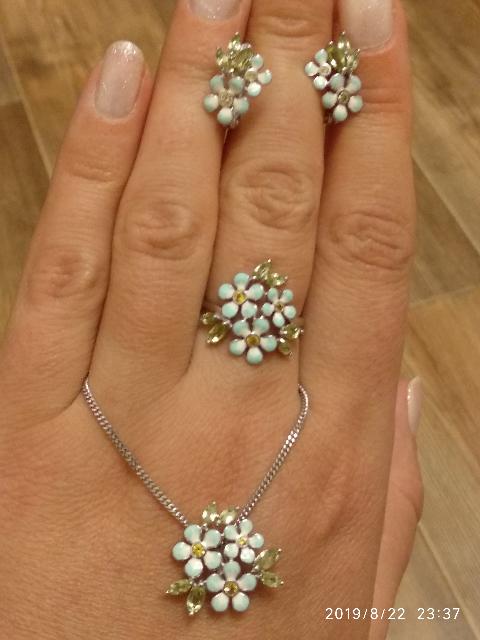 Чудесные серебряные серьги с фианитами, хризолитом и эмалью