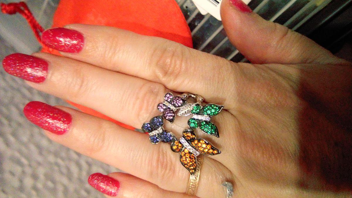 Колечко серебро с фианитами, бабочки