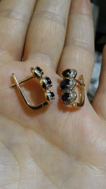 Серьги с сапфирами и бриллиантами