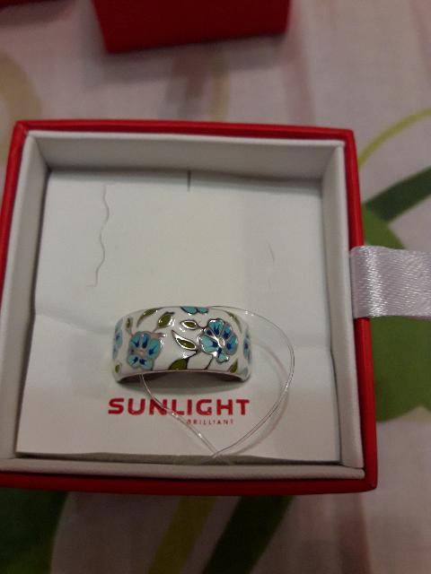 Кольцо с эмалью с голубыми цветами