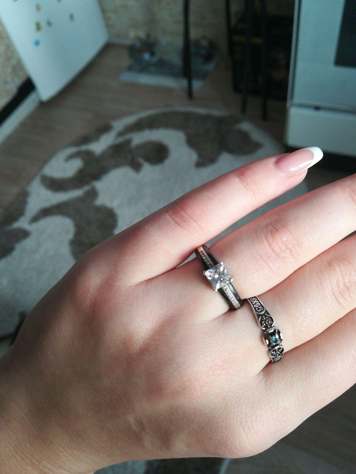 Колечко серебро-керамика