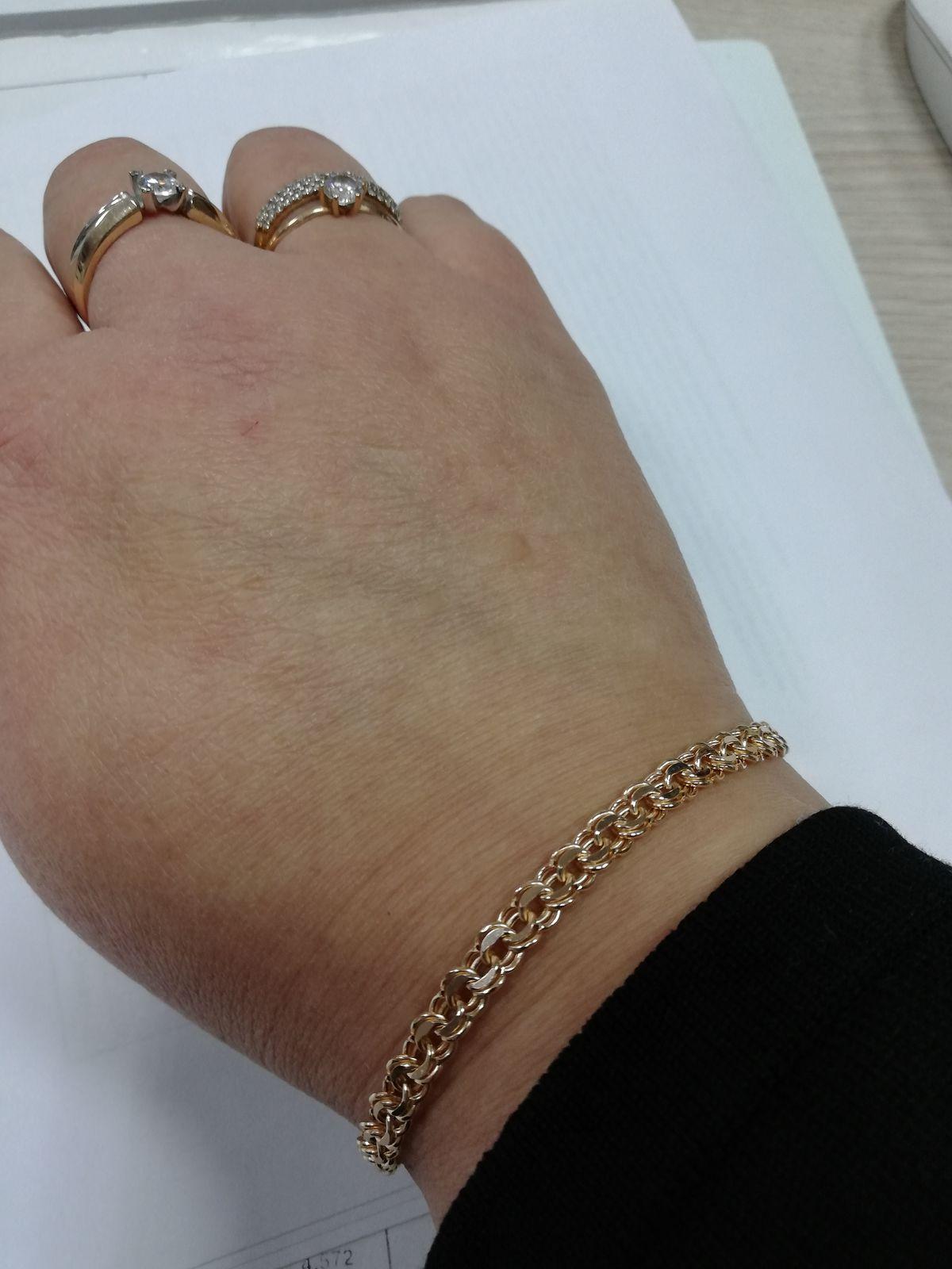 Золотой браслет с плетенеим Бисмарк