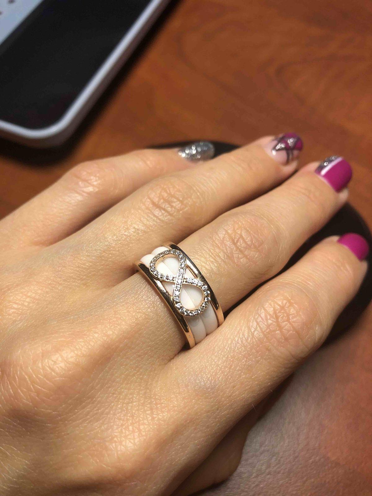 Кольцо серебро и керамика