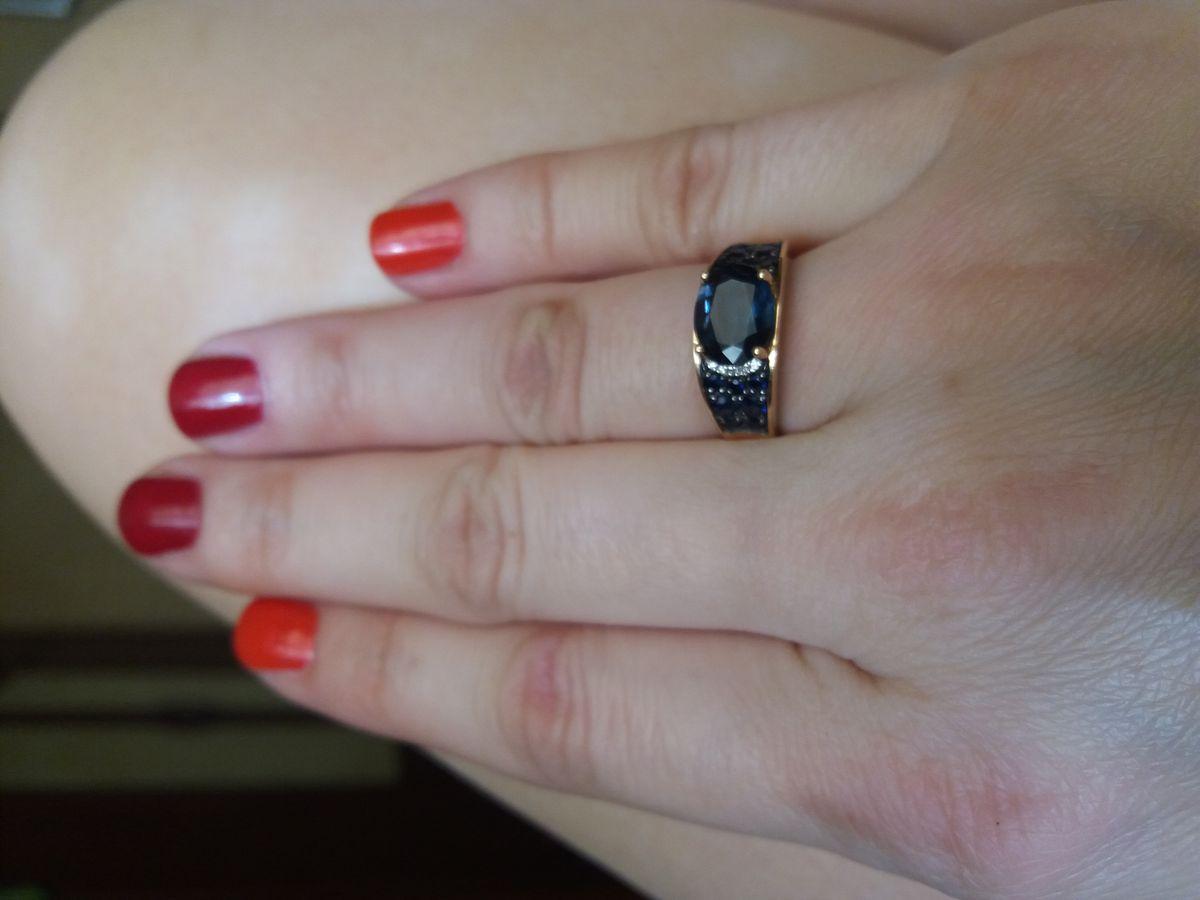 Вау-кольцо с Лондон топазом и сапфирами