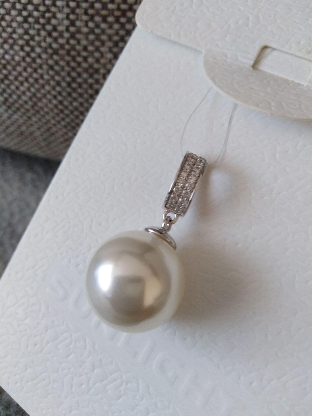 Серебряная подвеска с фианитами и жемчугом