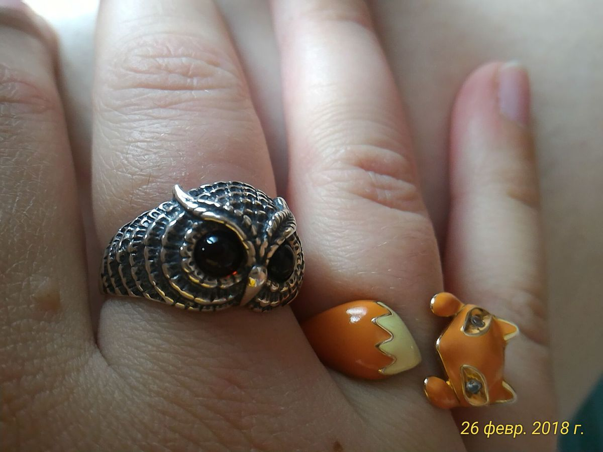 Кольцо сова с янтарем